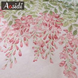 Cortinas de tul modernas para sala de estar, cortinas de gasa para ventana, diseño de flores de glicina AOSIDI