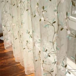 Cortinas velos de tul bordadas florales para Living Room Girls Jacquard Pastoral Window cortina para dormitorio Cortinas