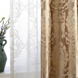 Cortinas de Damasco europeas para sala de estar de lujo Jacquard cortinas ciegos Panel de ventana cortina de tela para el sombre