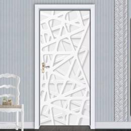 Pegatinas de puerta extraíbles europeo 3D Línea Blanca espacio impermeable sala de estar Puerta de dormitorio 3D papel tapiz aut