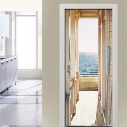 Open Door To The Sea Art Picture 3D pared murales PVC autoadhesivos pared pegatinas puerta calcomanías de papel pintado Home Dec