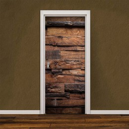 2 unids/set PVC autoadhesivo 3D pegatina extraíble para puerta Retro patrón de madera papel tapiz decoración de la puerta de la