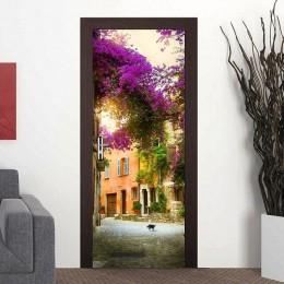 3D hermoso paisaje puerta etiqueta engomada para habitación dormitorio DIY PVC Auto adhesivo impermeable Mural deursticker