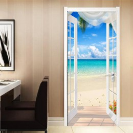 PVC autoadhesivo puerta pegatina ventana arenosa playa paisaje marino 3D foto papel tapiz Mural sala de estar dormitorio decorac