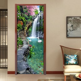 3D naturaleza paisaje cascadas puerta pegatina de pared sala de estar cocina PVC autoadhesivo impermeable pegatina en el papel p