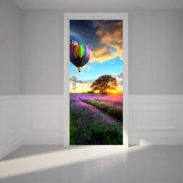 Retro paisaje puerta Mural túnel piso paso 3D puerta pegatina DIY autoadhesivo impermeable papel pintado Poste para la decoració