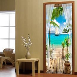 Balcón vista al mar etiqueta engomada de la puerta en 3D pintura de la pared sala de estar papel pintado para puerta de dormitor