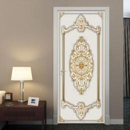Autoadhesivo para puerta 3D estéreo oro yeso patrón papel pintado estilo europeo sala de estar dormitorio puerta pegatinas pintu