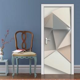 2 unids/set pegatinas de puerta con patrón geométrico creativo decoración de la pared PVC impermeable para puerta de dormitorio