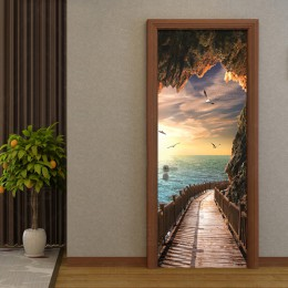 PVC autoadhesivo impermeable Mural papel pintado 3D paisaje marino puerta pegatina moderno creativo DIY sala de estar dormitorio