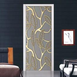 Creativo 3D hojas doradas etiqueta de la puerta DIY decoración del hogar autoadhesivo papel pintado Mural impermeable para la re