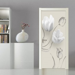Moderno Simple blanco para la puerta con forma de flor pegatina sala de estar dormitorio PVC autoadhesivo impermeable papel pint