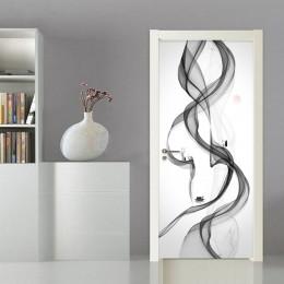 Arte Abstracto creativo puerta pegatina 3D Smog papel tapiz sala de estar dormitorio decoración del hogar pegatinas para puerta