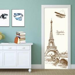 90x200 cm/77x200 cm simples pegatinas de puerta europea para sala de estar dormitorio Quee Dress Girl PVC Poster impermeable ren