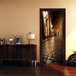 Puertas de madera reacondicionado puerta pegatina noche calle autoadhesiva decorativa calcomanía Mural resistente al agua Mural