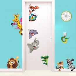 Pegatinas de puerta de animales de dibujos animados en 3d para habitación de niños arte mural hogar Diy etiqueta de la pared de