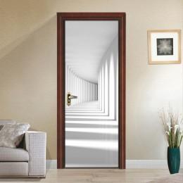 PVC autoadhesivo impermeable etiqueta engomada de la puerta moderna 3D estéreo espacio Mural papel pintado salón dormitorio puer
