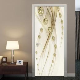 Golden Luxury Ball Line pintura puerta pegatina papel tapiz 3D estilo europeo casa diseño puerta calcomanías PVC autoadhesivo pe