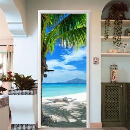Moderno 3D playa paisaje puerta pegatina comedor baño PVC impermeable Auto adhesivo Mural papel pintado para paredes pegatinas 3