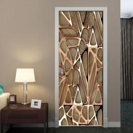 2 unids/set oro rosa patrón geométrico 3D pegatina la puerta y pared autoadhesiva impermeable calcomanías de papel pintado hogar