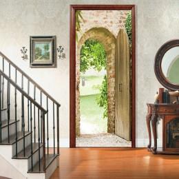 77x200cm Hoja Verde Puerta pegatina decoración del hogar hermoso paisaje adhesivo impermeable papel pintado para dormitorio saló