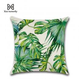 Plantas tropicales hoja de palma hojas verdes Monstera Fundas de cojín de flores de hibisco funda de almohada decorativa de lino