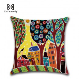 Pintado a mano Retro Rural Color ciudades 45*45cm funda de cojín de lino almohada de coche decoración del hogar funda de almohad