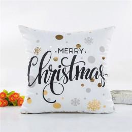 MIHE funda de cojín 45*45cm oro Lino algodón suave tiro almohada cubierta sofá funda de almohada feliz adornos navideños para el