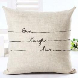 Letra amor hogar Fundas de cojín de algodón lino negro Funda de cojín blanca sofá cama funda de cojín decorativa de estilo nórdi