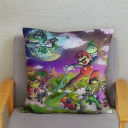 Juego Clásico de dibujos animados coloridos fundas de almohada de Super Mario 45*45cm funda de cojín blanda de felpa corta decor