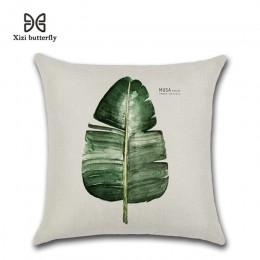 Nuevo juego de cojín de impresión de hoja verde 45*45cm funda de cojín de lino almohada de coche decoración del hogar funda de a